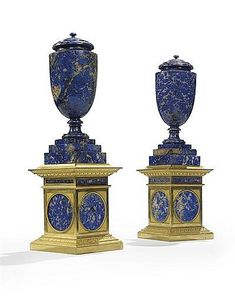 A NEAR PAIR OF LATE LOUIS XVI ORMOLU AND LAPIS LAZULI LIDDED