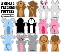 """Animal Friends Puppets fabric by pixeldust on Spoonflower - custom fabric Animal Friends Puppets for Small Hand. Each puppet is between 4""""-5"""" wide and about 6"""" tall."""