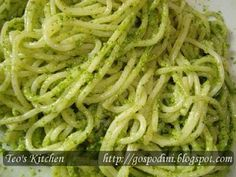 Spaghette cu pesto din leurda - Retete culinare by Teo's Kitchen Pesto, Goodies, Food And Drink, Healthy Eating, Favorite Recipes, Ethnic Recipes, Kitchen, Nicu, Pizza