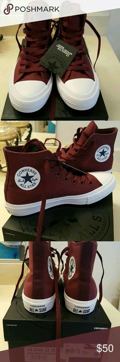 f30406e2fc33  NEW  Converse Shoes  NEW  Converse Chuck Taylor All Star II high tops in  burgandy. These shoes are better quality than the usual Chucks with more  padding ...