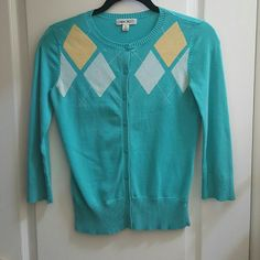Argyle Cardigan One of my favorites! Pre-loved but in great condition. Size XSmall in Ladies. Cherokee Sweaters Cardigans