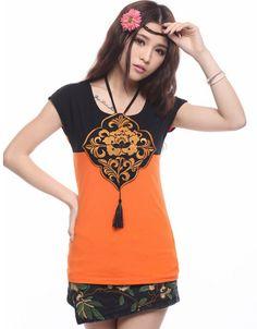 Modern Chinese Style Top - Modern Cheongsam Top -Orange Wishful Knot $64.00 (48,22 €)