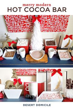 Have a little fun this holiday by giving your guests a Hot Cocoa Bar to create their own cup with marshmallows, peppermint, cinnamon, and more! Your friends will absolutely adore this interactive party treat!