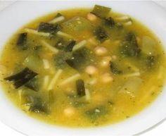 Sopa de grão e alho-francês