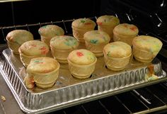 Kids love these ice cream cupcakes and this is a TERRIFIC idea to keep them from spilling in the oven!