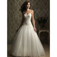 Sweetheart Embroidery Beaded Tulle Ball Gown Wedding Dress - bellesbridals.com