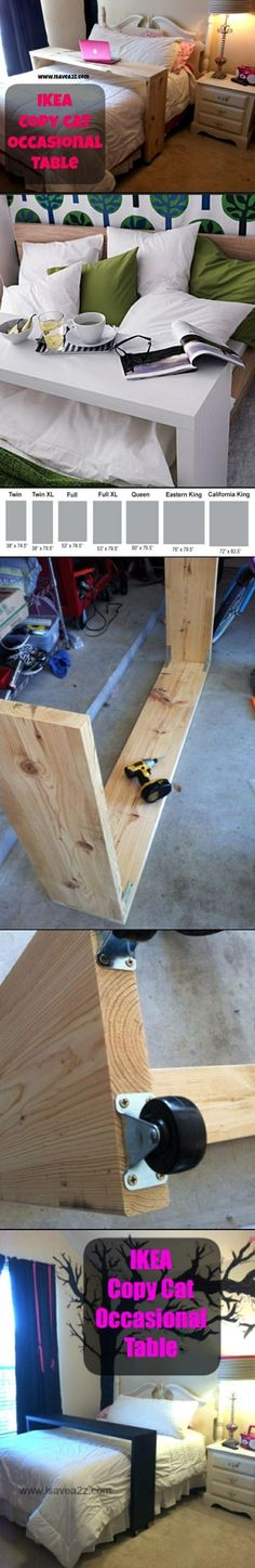 Ikea Copy Cat Table HACK. Easy project for the beginners ~ PERFECT FOR DORM ROOM! ...FYI- Lowe's will cut to size for you. All you have to do is screw in the braces and castor wheels. ~ You don't have to paint this; just cover it in contact paper!.