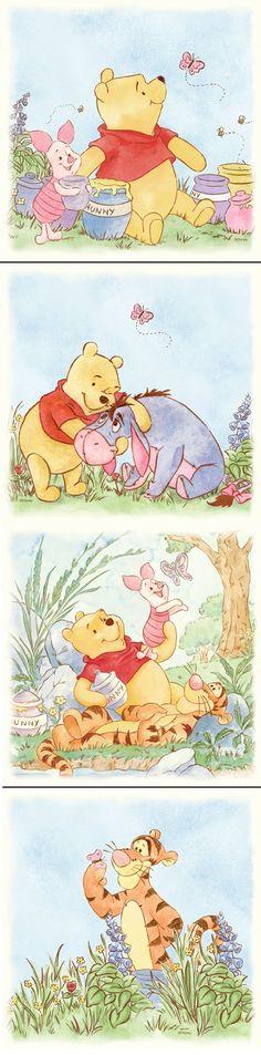 Lazy Daze Winnie the Pooh 4-Piece Wall Art SALE - Wall Sticker Outlet