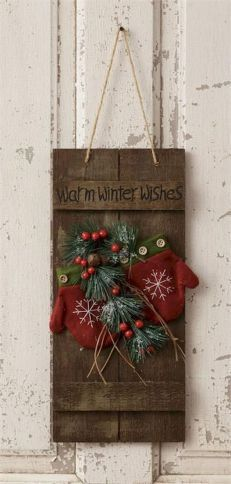 Warm winter wishes sign adorned with mittens, berries and greenery. 40 Stunning Rustic Christmas Decor Ideas - image for you Are you well prepared for some christmas ornament? For some christmas ornaments or some hand craft, we have so many idea to give i Christmas Wood Crafts, Outdoor Christmas Decorations, Christmas Projects, Holiday Crafts, Christmas Wreaths, Christmas Ideas, Holiday Ideas, Vintage Christmas, Winter Wood Crafts
