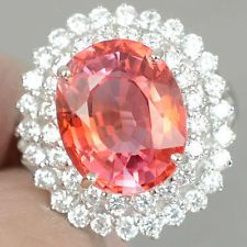 DAZZLING PADPARADSCHA SAPPHIRE & WHITE SAPPHIRE REAL 925 SILVER RING SIZE 5.75