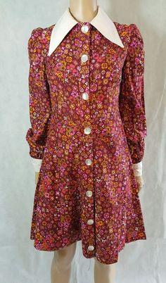 60s/70s Vintage Psych Floral Dagger Collar Scooter/Shift Dress. Mod