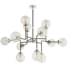Hey Look What I found at Lighting New York Visual Comfort Ian K. Fowler Bistro 12 Light 47 inch Polished Nickel Chandelier Ceiling Light in Clear Glass Modern Chandelier, Brass Chandelier, Chandelier, Orb Pendant Light, Chandelier Ceiling Lights, Visual Comfort Lighting, Chandelier Lighting, Circa Lighting, Visual Comfort