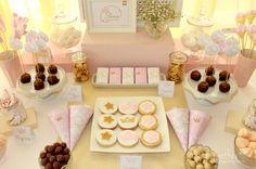 mesa dulce comunión -  mesa dulce princesas - mesa dulce en blanco dorado y rosa - the godmother.es