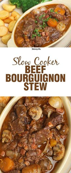 Slow Cooker Beef Bourguignon Stew Thick, hearty chunks of meat, chewy root vegetables, and garden-fresh herbs blend beautifully and offer incredible depth of flavor in this slow cooker classic. Crock Pot Slow Cooker, Crock Pot Cooking, Slow Cooker Chicken, Slow Cooker Recipes, Beef Recipes, Soup Recipes, Cooking Recipes, Crockpot Meals, Recipies