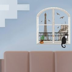 Art Applique by KMG Paris Cat In Window Decorative Wall Decal  Love this!  Thanks Leandro!