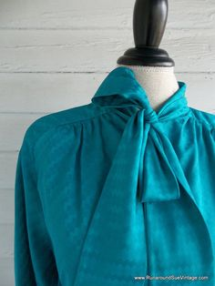 Vintage Blouse  1970s TEAL Secretary Shirt by runaroundsuevintage, $24.00