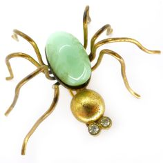 Vintage Art Deco Czech Pastel Green Spider Gold Tone Pin Brooch | Clarice Jewellery | Vintage Costume Jewellery