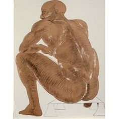 Sitting Man by Dame Elisabeth Frink 1996 Overall dimensions: x A signed lithograph in an edition of 50 printed and published by the Royal College of Art. Elisabeth Frink, English Artists, British Artists, Sculpture Projects, Figure Reference, Royal College Of Art, Life Drawing, Face Art, Artist At Work
