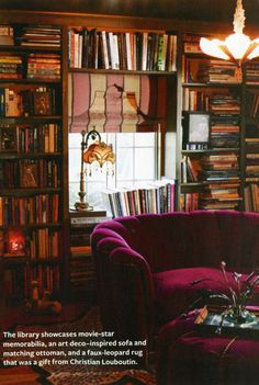 "Dita Von Teese, known as ""The Queen of Burlesque,"" lives in glam retro style at home in L., and it's featured in InStyle magazine. Style At Home, Dita Von Teese House, Dream Library, Cozy Library, Library Room, Magical Library, Future Library, Interior And Exterior, Interior Design"