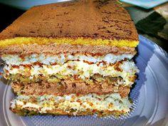 """Tort """"Perla neagra 1"""",contine multe nuci in foi delicioase din bezea, un amestec de arome grozav, o crema foarte fina… toate, intr-o feliuta de tort divin. Romanian Desserts, Romanian Food, Sweet Recipes, Cake Recipes, Dessert Recipes, Something Sweet, Sweet Bread, Bakery, Cheesecakes"""