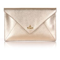 Vivienne Westwood Pouch 7040 Envelope Clutch (590 BRL) ❤ liked on Polyvore featuring bags, handbags, clutches, envelope clutch bags, pink handbags, gold metallic purse, gold metallic handbags and pouch handbags