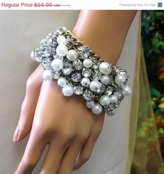 Bridal Victorian pearlcrystal bracelet bridal by BijouxandCouture, $49.50