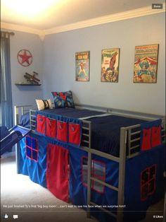 Boys super hero loft bedroom.  Junior fantasy loft bed with slide and curtains (Walmart.com $209)