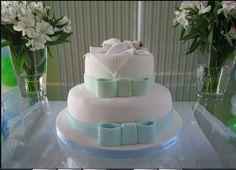 Bolo de batizado para menino. Lindo! (Beautiful christening cake for boys)