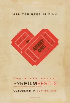(Amsterdam Gay Film Festival 2012 poster) Again, the image of the film tickets in the shape of a love heart would be something that I could create using Linocut. In addition, the design also signifies the organisations love of film as the title reads, 'All you need is love', taken from the famous title, 'All you need is love'.