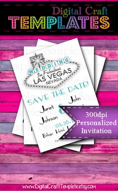Personalized Printable Invitations   Las Vegas   White   Save the Date   Wedding    #157