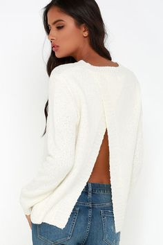 If you're down to get cozy, then don't spend another lazy Sunday without the Let's Get Lounge Ivory Sweater! Stretchy and slightly nubby knit rounds at the ribbed bateau neckline, and falls to roomy sleeves alongside the wide-cut bodice with slit back. Unlined. 65% Acrylic, 20% Polyester, 15% Nylon. Machine Wash Cold or Dry Clean. Imported.