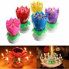 Bougie 14 pétales fleur Lotus étincelle musique décorative d