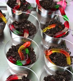 Dirt Cups - pudding, crushed Oreo's and gummy worms.