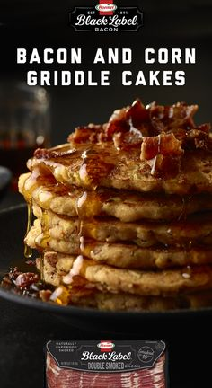 These sweet & savory griddle cakes will knock your socks off. Make them with BLACK LABEL® Double Smoked Bacon Bacon Bacon, Smoked Bacon, Griddle Cakes, Savory Breakfast, Griddles, Waffles, Side Dishes, Brunch, Label