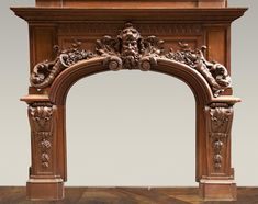 Exceptional antique oak wood fireplace made after the model of the fireplace in the Hercules Salon in Versailles Palace
