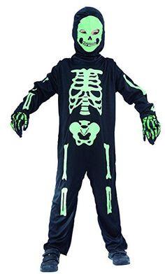 Skelett Kostüm für Kinder Halloween schwarz-grün, Größe 110-116, 122-128, 134-140 komplett inkl. Ganzkörperanzug, Mutze mit Maske und Handschuhe - Kostüm Skelett Jungen (122/128)
