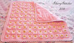 Princess Daisy's Flower Blanket by Sherry L. Farley, free crochet pattern.  I very much like the idea of backing the blanket with fabric for a more finished, less floppy, warmer effect.  Being 'sew dim' I could do with some instructions as to how to do this!