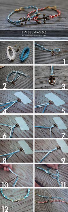Fishtail Braided Anchor Bracelet