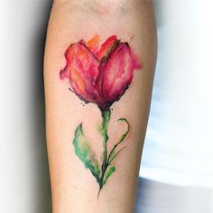 Watercolor Tulip Flower Tattoo Design For Forearm