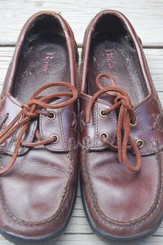 Vintage Bass Karina Leather Topsiders Deck Shoes Size 7 by MaidenhairVintage, $30.00