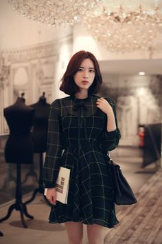 only Milkcocoa.809-Green check Romantic Dress