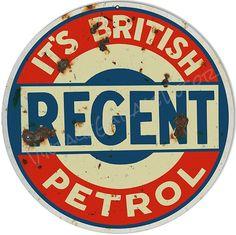 "Vintage Style "" Regent Petrol Motor Oil "" Advertising Metal Sign (Rusted) $25.00+"