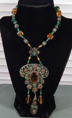 "Vintage Art Nouveau Deco Amber & Green Rhinestone Filigree Lavalier Necklace 14"""