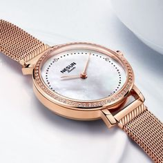 Cool watches for women who are fashion curious, this creative style rose gold watch is a lovely accessory. The enticing thing about this waterproof watch is the rose gold color finish that makes it a stylish pair for almost every color outfits. #coolwatchesforwomen #watchrosegold #collwatchesforwomencasual