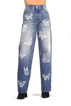 Super / Butterfly Effect – Revice Painted Jeans, Painted Clothes, Custom Clothes, Diy Clothes, Diy Summer Clothes, Retro Outfits, Casual Outfits, Grunge Jeans, Punk Jeans