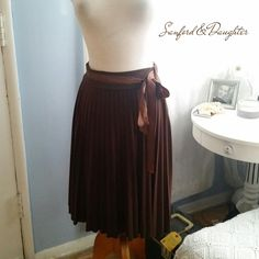 SOLD Chocolate Pleated Skirt by SanfordandDaughterLA on Etsy