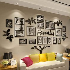 Family Tree Picture Frames, Family Tree With Pictures, Collage Picture Frames, Frames On Wall, Room Decor With Pictures, Family Picture Walls, Picture Wall Living Room, Frame Wall Collage, Modern Picture Frames