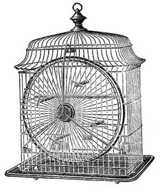 Antique Clip Art - Cute Wire Birdcage - The Graphics Fairy