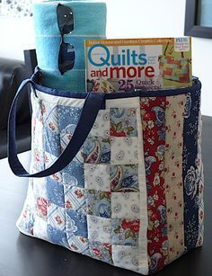 29 Ideas for patchwork quilting bags sewing projectsThis Patchwork Tote is a Workhorse in Disguise - Quilting DigestLarge Patchwork Tote Clermont Farms Quilted Tote Bag by Glenn Dragone.This Americana themed, multipurpose tote is suitable for the poo Bag Pattern Free, Tote Pattern, Sewing Patterns Free, Free Sewing, Free Tote Bag Patterns, Quilted Bags Patterns, Quilt Pattern, Duffle Bag Patterns, Handbag Patterns