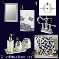 Black white damask bath accessory 4 piece set for Navy and white bathroom accessories